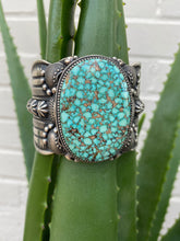 Load image into Gallery viewer, Stamped Kingman Turquoise Cuff