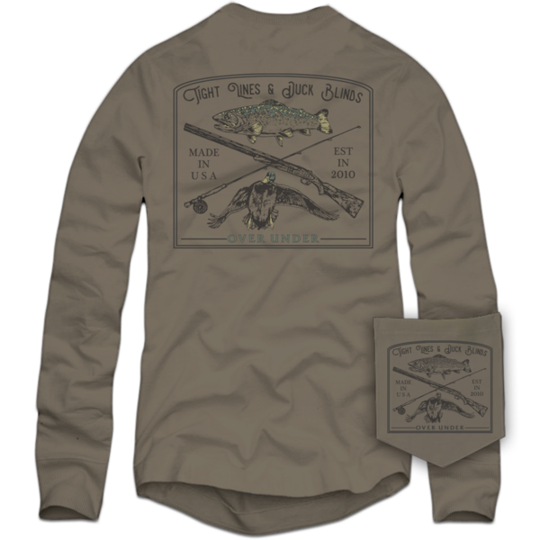 Over Under Long Sleeve ~ Tight Lines & Duck Blinds Shirt 6 Whiskey Georgetown hunting fishing outdoor lone star USA American made