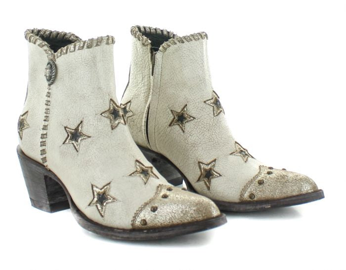 Old Grino Glamis Short Boot w/ Stars in White 6Whiskey