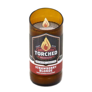 beer bottle candle torched 6 whiskey strawberry blond scent soy amber glass 60 hour burn time great gift for guys