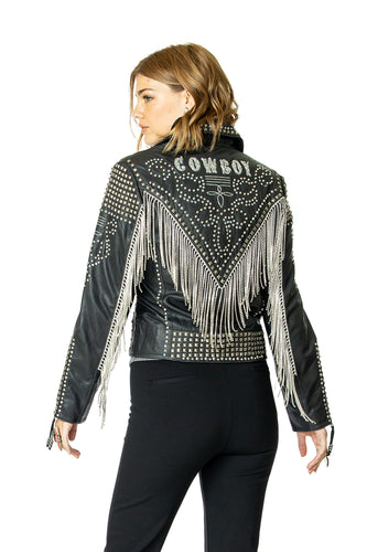 DDR Rhinestoned Cowboy Black Biker Jacket 6Whiskey Nashville Fall 2020 C2754