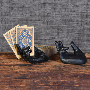 Black Cast Iron Hand 6Whiskey card holder paper weight desk accessory