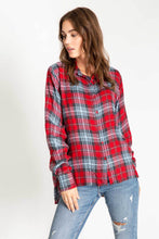 Load image into Gallery viewer, PJ Salvage Long Sleeve Red Plaid Shirt ~ Snowed In 6 Whiskey six whisky