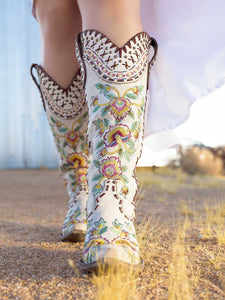 Double D Ranch Almost Famous Tall Cowboy Boot in White by Old Gringo at 6Whiskey