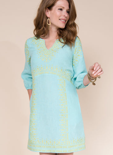 Uncle frank turquoise mini embroidered long sleeve dress 6whiskey six whisky