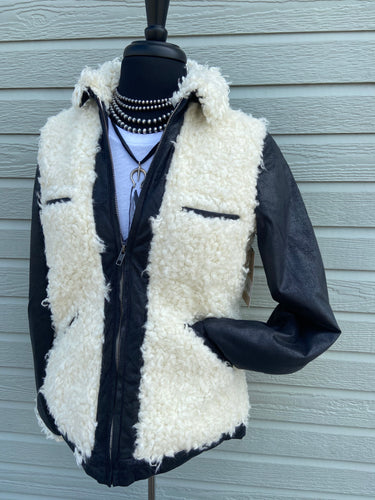 Tasha Polizzi Fall 2020 Rizzo Jacket 6Whiskey Black Leather Jacket with White Sherpa