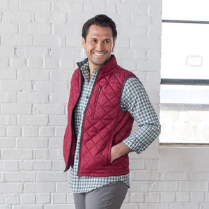 Men's Ottley Quilted Full Zip Vest in Tibetan Red 6Whiskey by Oxford Fall