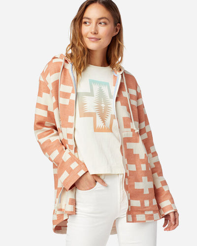 Pendleton Oversized Zip-up Hoodie in sierra and ivory at 6Whiskey six whisky womens spring