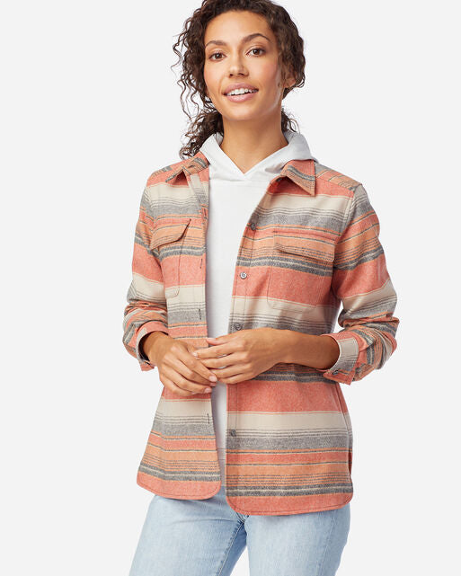 Pendleton Women's Board shirt in copper stripe, desert sunset at 6Whiskey six whisky Styled