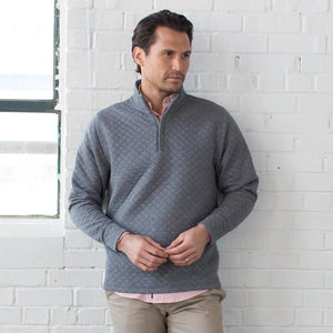 Linden Quilted 1/4 Zip Pullover in Jet Black Heather 6Whiskey Oxford