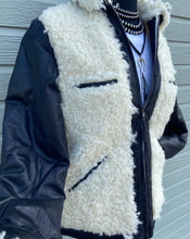 Load image into Gallery viewer, Tasha Polizzi Fall 2020 Rizzo Jacket 6Whiskey Black Leather Jacket with White Sherpa
