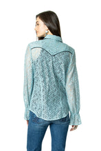 Load image into Gallery viewer, DDR Lil' Bit Country Top in Stardust Blue 6Whiskey Nashville Fall 2020 Long Sleeve Lace T3383