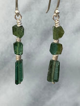 Load image into Gallery viewer, green tourmaline dangle earrings 6whiskey Promotes openness patience compassion tenderness creativity