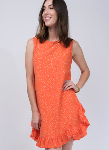Uncle frank dot & ruffle sleeveless dress 6whiskey orange summer