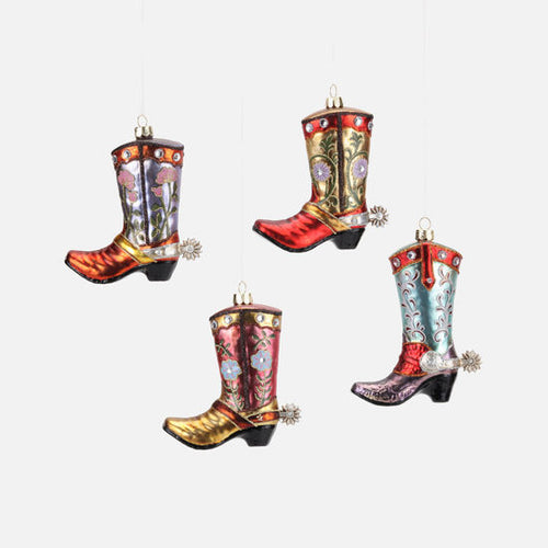 Floral Cowboy Boot Glass Ornament 6 Whiskey six whisky
