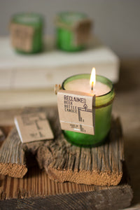 Wooden Square Candle holder with green recycled glass votive