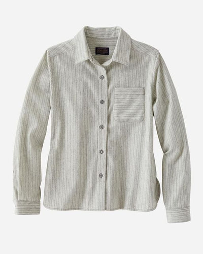 Pendleton Cropped Lodge shirt in grey/white stripe at 6Whiskey six whisky womens spring