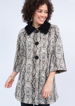 Load image into Gallery viewer, Ivy Jane Black & White Snake Swing Coat 6Whiskey Winter 2020
