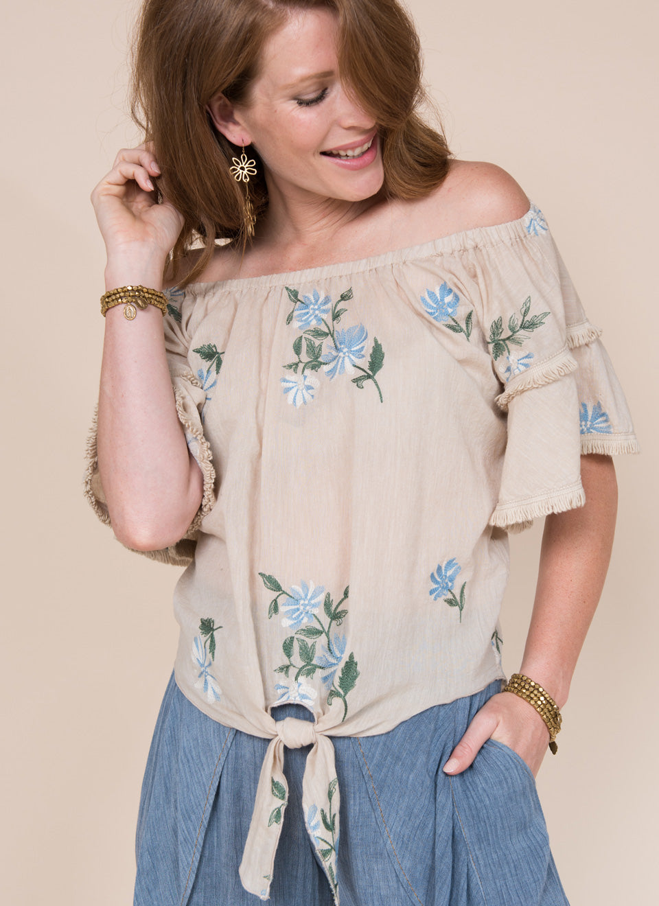 Ivy jane embroidered off the shoulder top 6whiskey six whisky