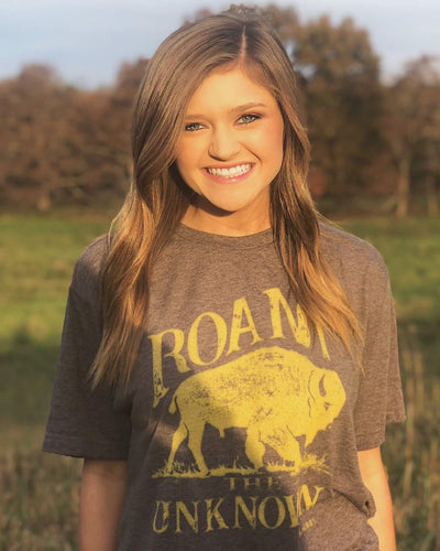 Buffalo T shirt 6 Whiskey Roam the Unknown brown and mustard on sale