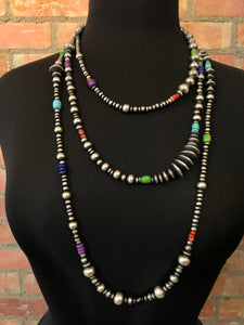 "Serape bead necklace 6 whiskey six whisky sterling silver Navajo beads 42"" length"