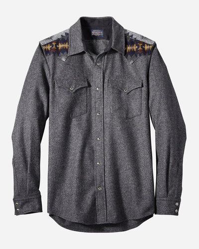 Pendleton Men's Fitted Pieced Canyon Shirt in Oxford Grey Blend 6Whiskey Fall 2020