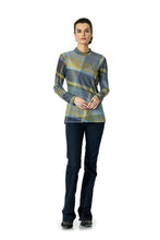 Load image into Gallery viewer, DDR Rodge Plaid Sheer Long Sleeve Mock Neck Tee 6Whiskey six whisky Taos Collection T3394