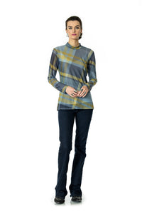 DDR Rodge Plaid Sheer Long Sleeve Mock Neck Tee 6Whiskey six whisky Taos Collection T3394