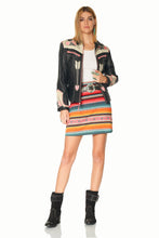 Load image into Gallery viewer, DDR Lets Smoke the Peace Pipe Black Leather Jacket at 6Whiskey six whisky spring Cynthia collection for cowgirls closet C2780 front view