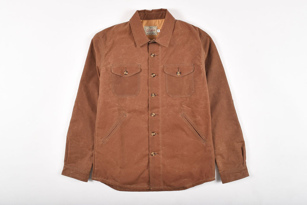 Dehen Men's Crissman Overshrit/Jacket 6Whiskey Waxed Canvas in Whiskey Brushed Twill Fall 2020
