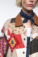 Load image into Gallery viewer, Double D Ranch Quilt Jacket ~ Bunkhouse Blanket ~ C2589 ddranch 6Whiskey one of a kind quilt blanket leather jacket