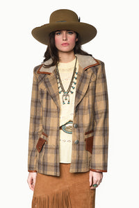 Double D Ranch Jacket ~ Odell C2603 faux fur collar plaid woven fabric old school western silver studs