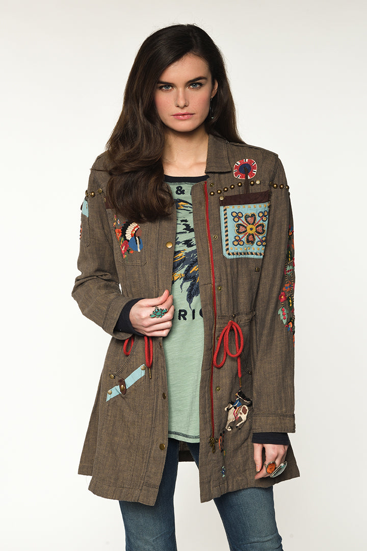 Double D Ranch Field Jacket ~ American Assemblage C2620 6 Whiskey fabric olive green jacket with cinch waist hand beading with flowers, cowboys and Indians, USA long sleeve