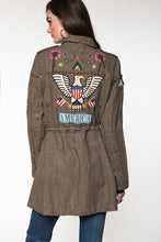 Load image into Gallery viewer, Double D Ranch Field Jacket ~ American Assemblage C2620 6 Whiskey American Eagle on back of jacket shield and flag