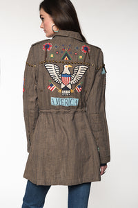Double D Ranch Field Jacket ~ American Assemblage C2620 6 Whiskey American Eagle on back of jacket shield and flag