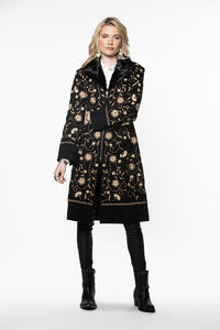 Double D Ranch Obregon Coat ~ C2632 long goat suede overall embroidery black coat very elegant classic western feel