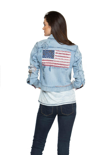 Flag for 30 Jacket Double D Ranch 6 Whiskey denim back view Willies Picnic