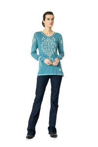 DDR Rocky Ridge Long Sleeve Embrodiered Tee in Taos Turquoise 6Whiskey six whisky T3374
