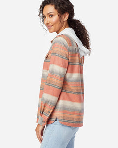 Pendleton Women's Board shirt in copper stripe, desert sunset at 6Whiskey six whisky Side view