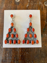 Load image into Gallery viewer, Red coral chandelier sterling silver earrings 6 whiskey