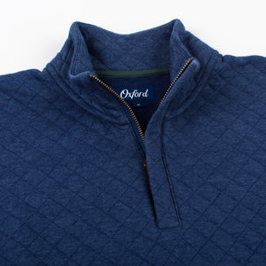 Linden Quilted 1/4 Zip Pullover in Medieval Blue Heather 6Whiskey Oxford