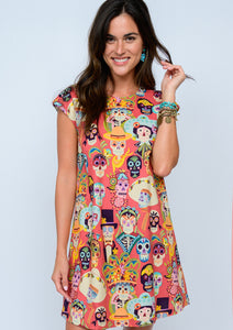 Day of the living sugar skull bright colored short sleeve dress by uncle frank/ivy jane at 6Whiskey six whisky for women spring 2021