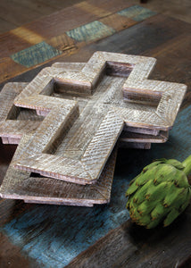 Distressed Wooden Cross Trays