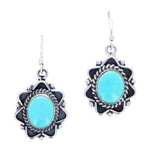 Turquoise earrings sterling silver drop 6 whiskey