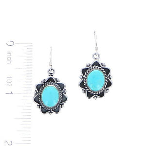 Size chart of oval turquoise earrings with oxidized sterling silver 6 whisky