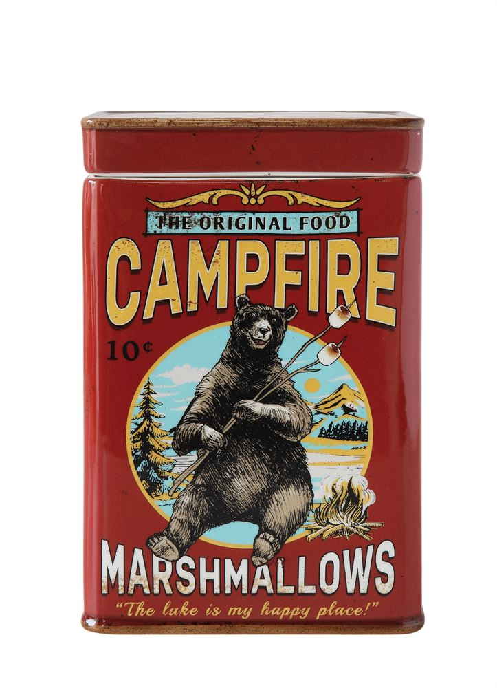 Campfire Marshmallows Ceramic Container with Lid