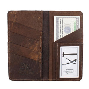 Over Under Bison Leather Checkbook Wallet