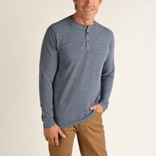 Load image into Gallery viewer, Duck Head Fall 2020 Heathered Henley in Slate Blue 6Whiskey