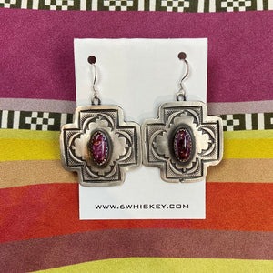 Stamped cross with purple spiny oyster earring