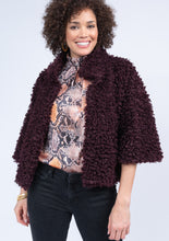 Load image into Gallery viewer, Ivy Jane Maroon Fuzzy Teddy Bear Cropped Jacket 6Whiskey Winter 2020
